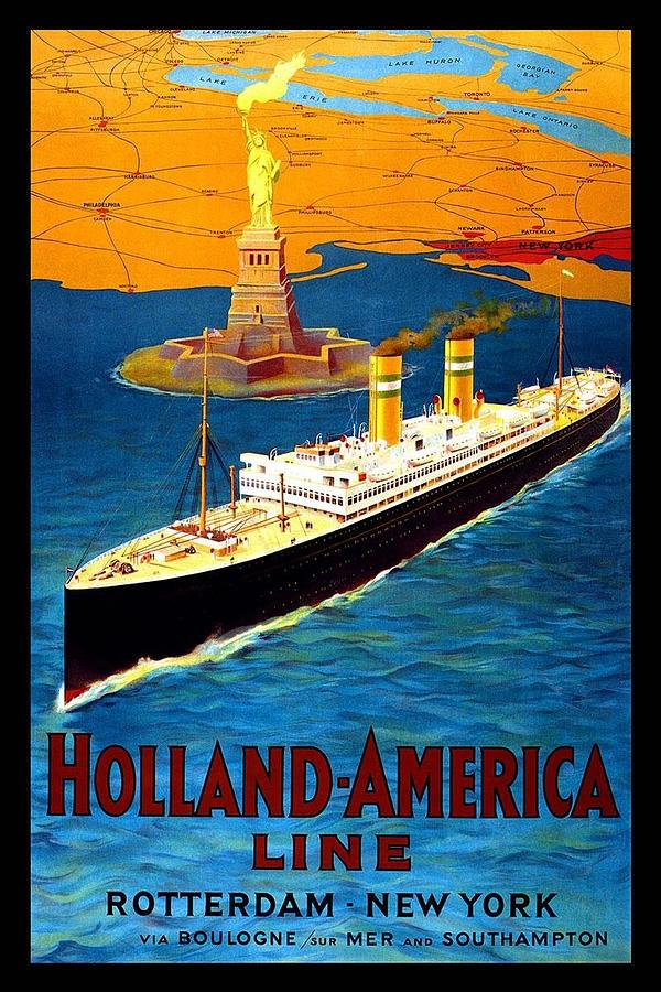 Steamer Ship With Statue Of Liberty In Backdrop - Vintage Travel Poster For Holland-america Line Painting