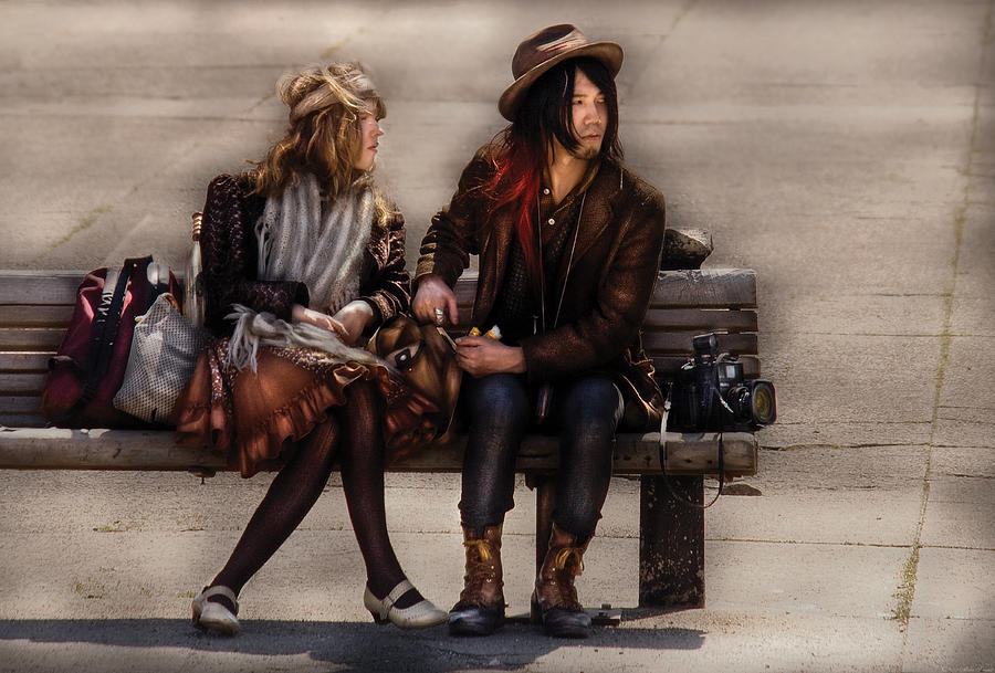 Savad Photograph - Steampunk - Time Travelers by Mike Savad
