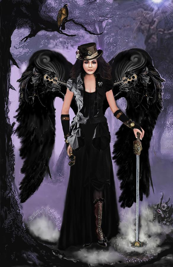 Digital Painting Digital Art - Steampunk Angel by Melodye Whitaker