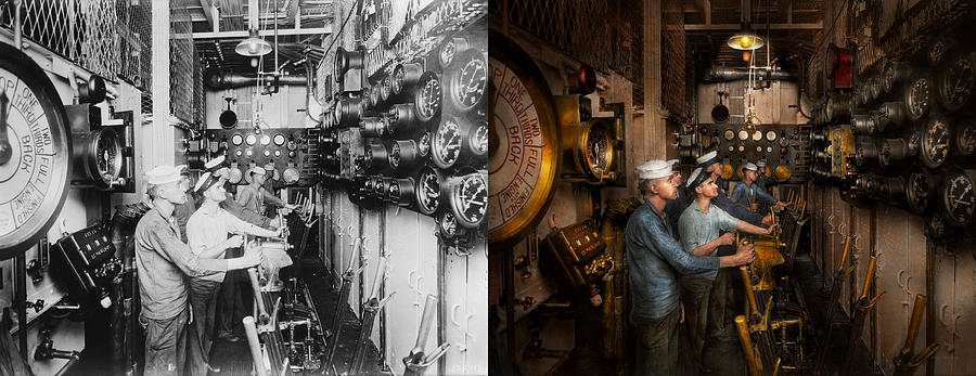 Steampunk Photograph - Steampunk - Controls On The Uss Washington 1920 - Side By Side by Mike Savad