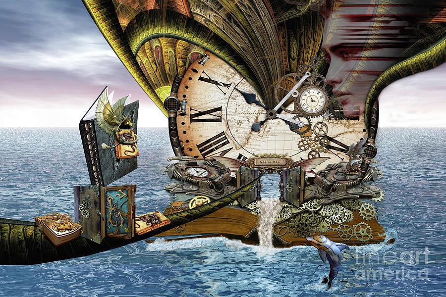 Fantasy Digital Art - Steampunk Dragon Library by Nadine May
