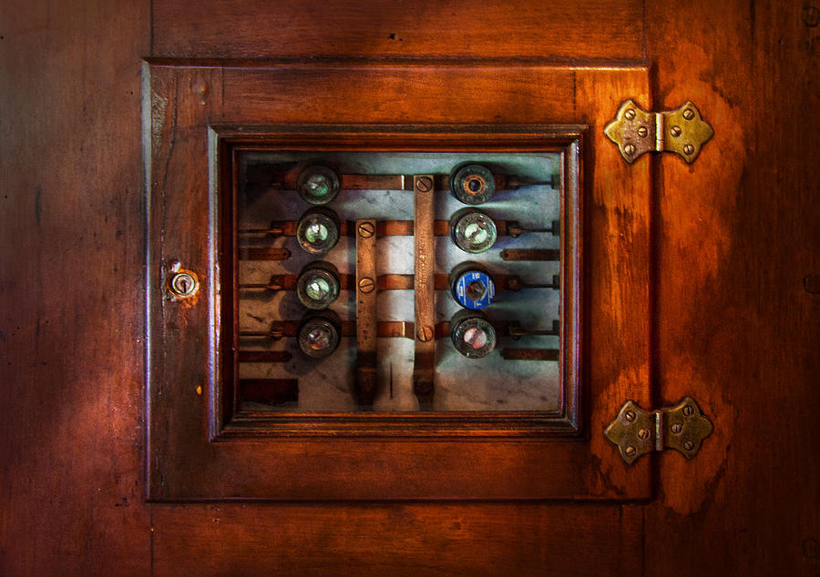 Hdr Photograph - Steampunk - Electrical - The Fuse Panel by Mike Savad