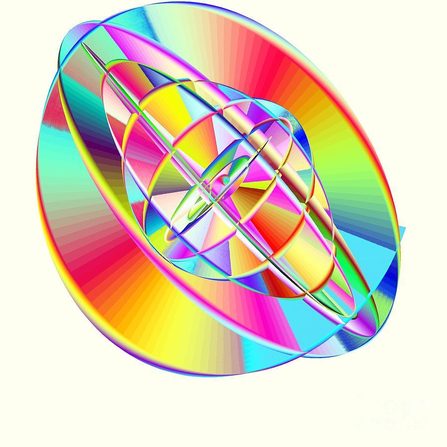 Steampunk Gyroscopic Rainbow Digital Art by Michael Skinner