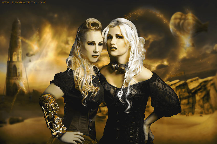Steampunk Photograph - Steampunk Maidens by Gela Ghaderi