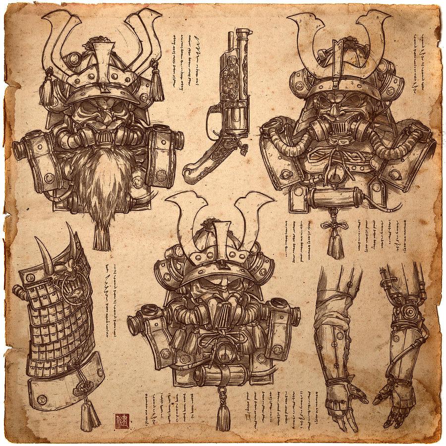 Steampunk Samurai Concept Drawing By James Ng