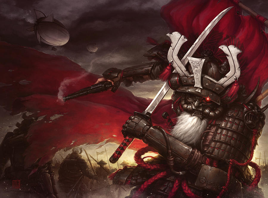 Steampunk Digital Art - Steampunk Samurai by James Ng