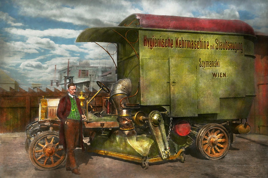 Street Cleaner Photograph - Steampunk - Street Cleaner - The hygiene machine 1910 by Mike Savad