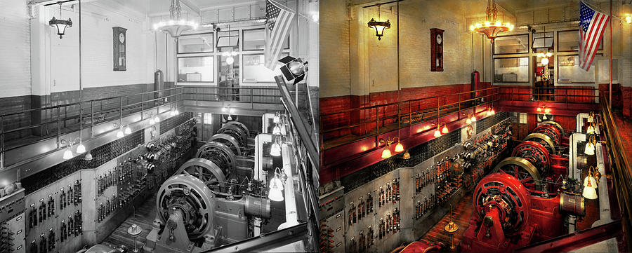 Pratt Institute Photograph - Steampunk - The Engine Room 1974 - Side By Side by Mike Savad