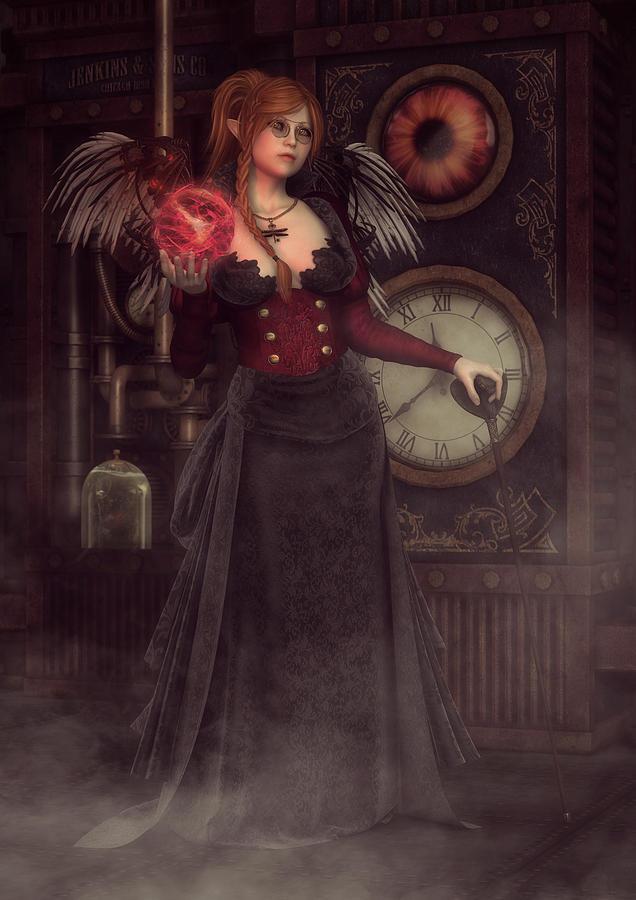 Steampunk Digital Art - Steampunk Warlock by Rachel Dudley