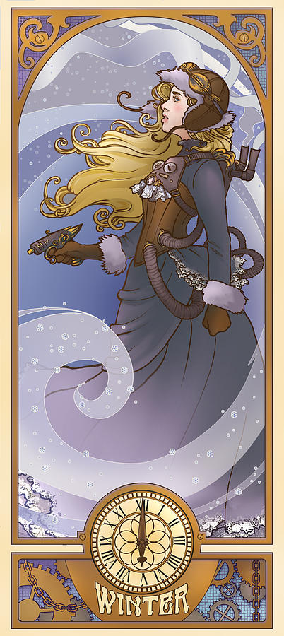 Mucha Digital Art - Steampunk Winter by Dani Kaulakis