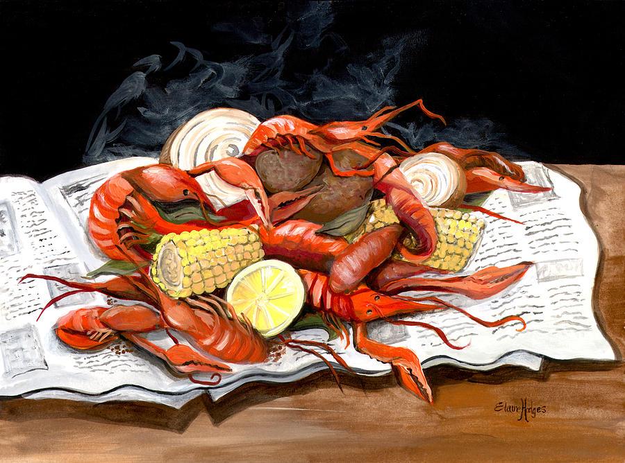 Cajun Painting - Steamy Crawfish by Elaine Hodges