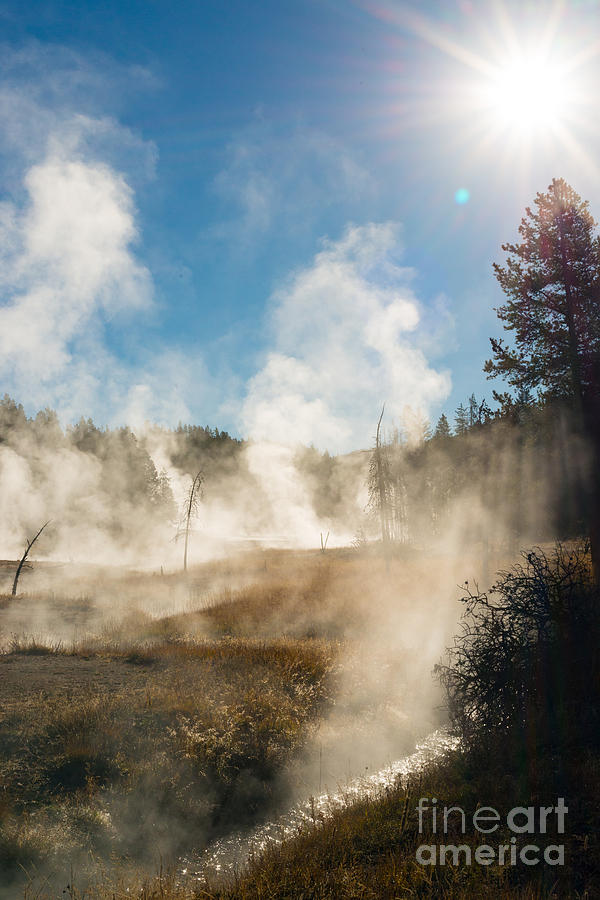 Yellowstone National Park Photograph - Steamy Sunrise by Birches Photography