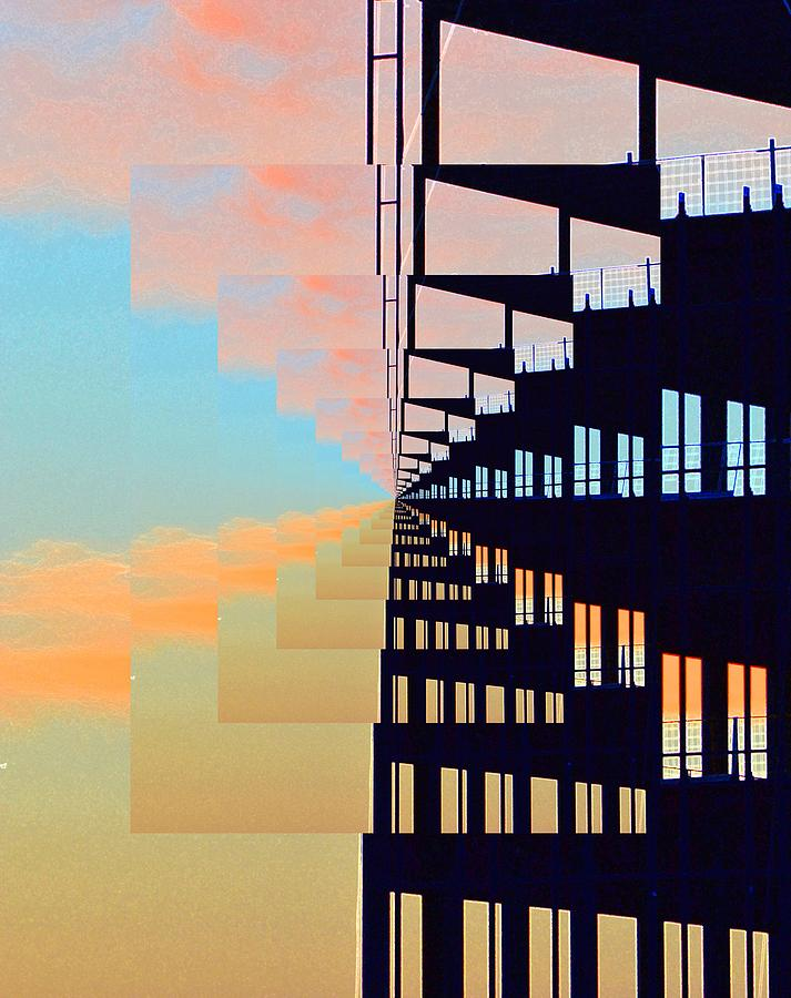 Abstract Photograph - Steel And Clouds At Sunset 7  by Lyle Crump