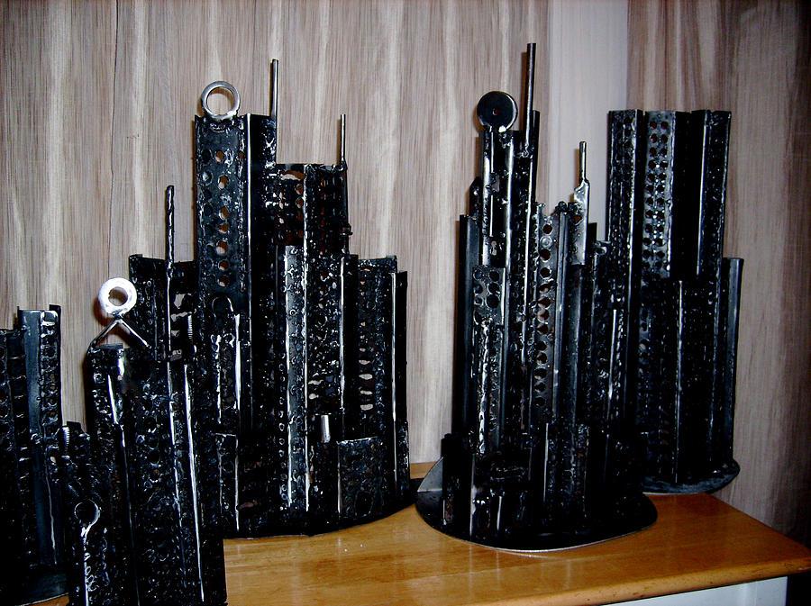 Metal Sculpture - Steel Buildings 2 by Don Thibodeaux