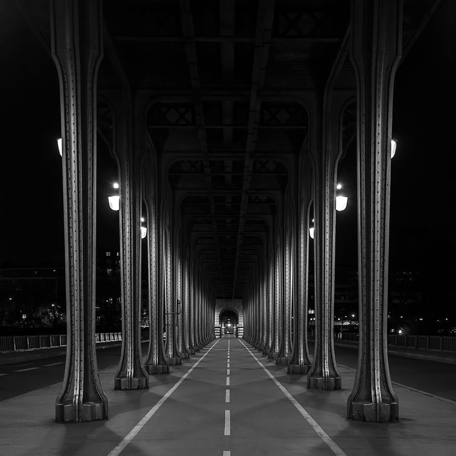 Paris Photograph - Steel Colonnades In The Night by Denis Rouleau