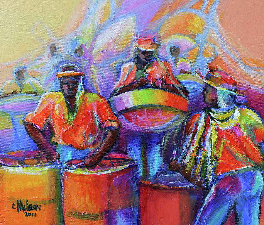 Abstract Painting - Steel Pan Carnival by Cynthia McLean