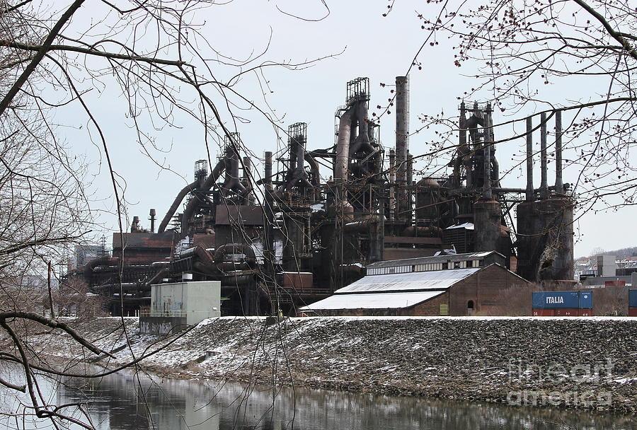 Steel Stacks Along The Lehigh by Ken Keener