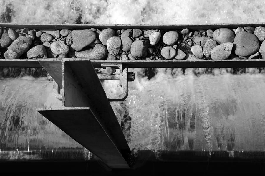 Black And White Photograph - Steel Water Rocks by Alasdair Turner