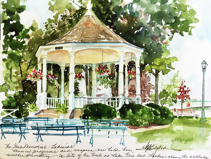 Lakeside Painting - Steele Memorial Bandstand by Maryann Boysen