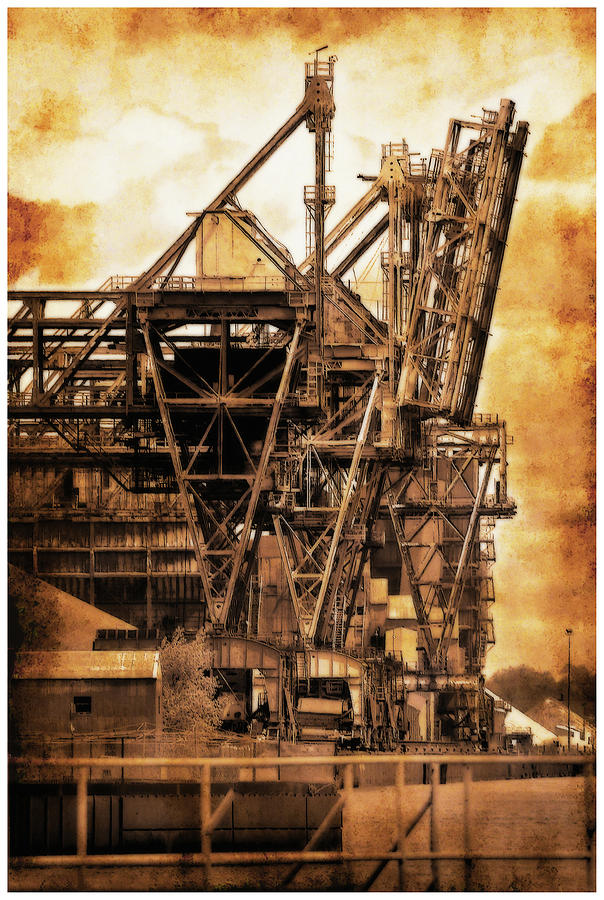 Automotive Photograph - Steelmill Boatdock Cranes Detroit by Jerry Bernard
