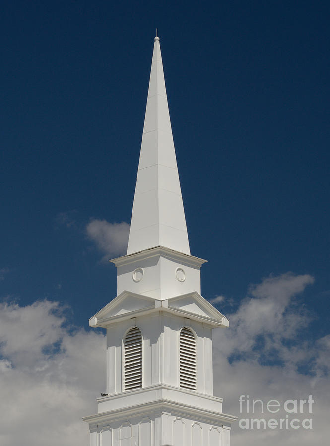 Steeple Photograph - Steeple and clouds by Merrimon Crawford