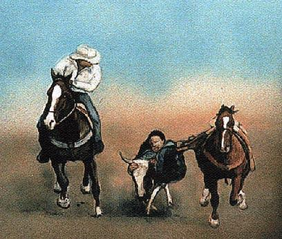 Horse Painting - Steer Wrestling by Charlotte Yealey