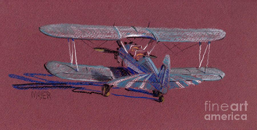 Airplane Drawing - Steerman Biplane by Donald Maier