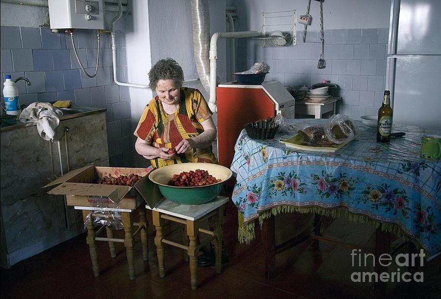 Ukraine Photograph - Stefania Cleans Strawberries In Chortkiw Ukraine by Yuri Lev