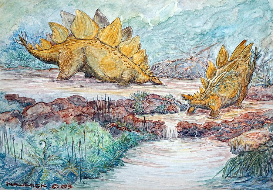 Dinosaur Painting - Stego Brook by Dennis Naumick