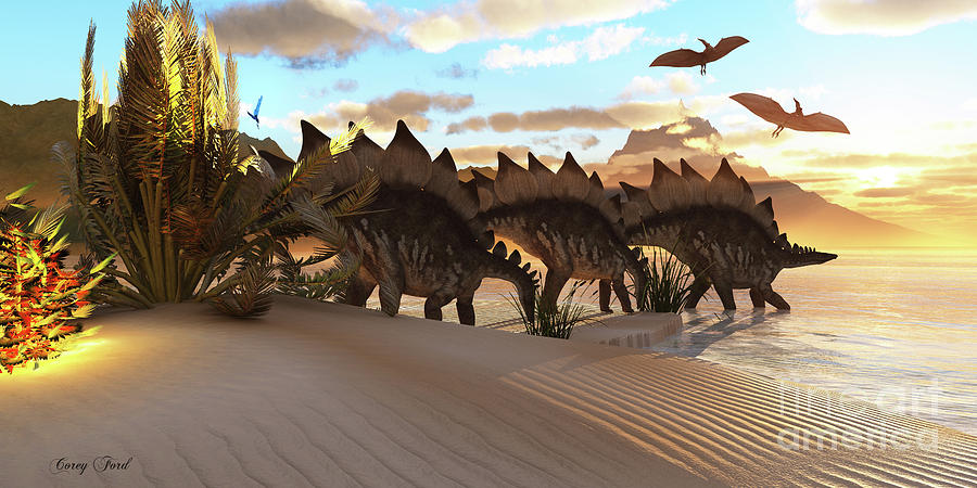 Stegosaurus Painting - Stegosaurus Dinosaur by Corey Ford