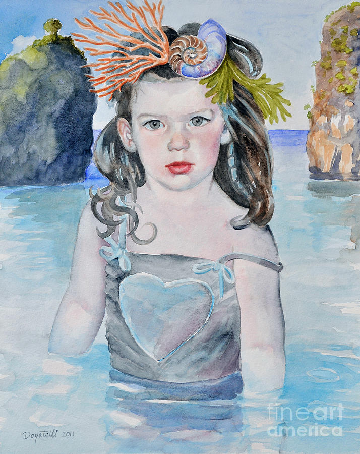 Young Girl Painting - Stella Silver Mermaid by Kathryn Donatelli