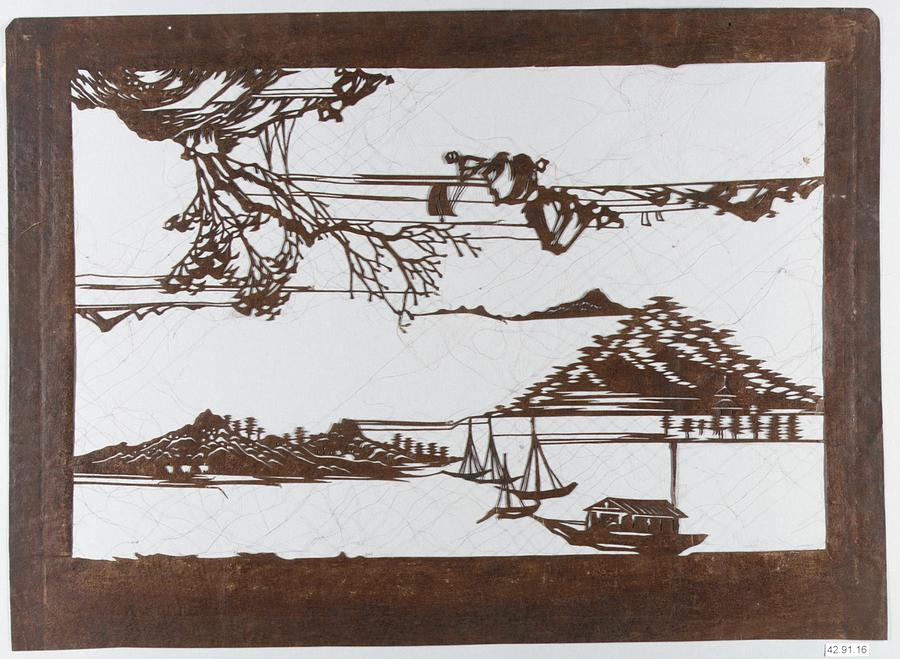 19th Century Painting - Stencil With Pattern Of Seascape On White Ground by MotionAge Designs