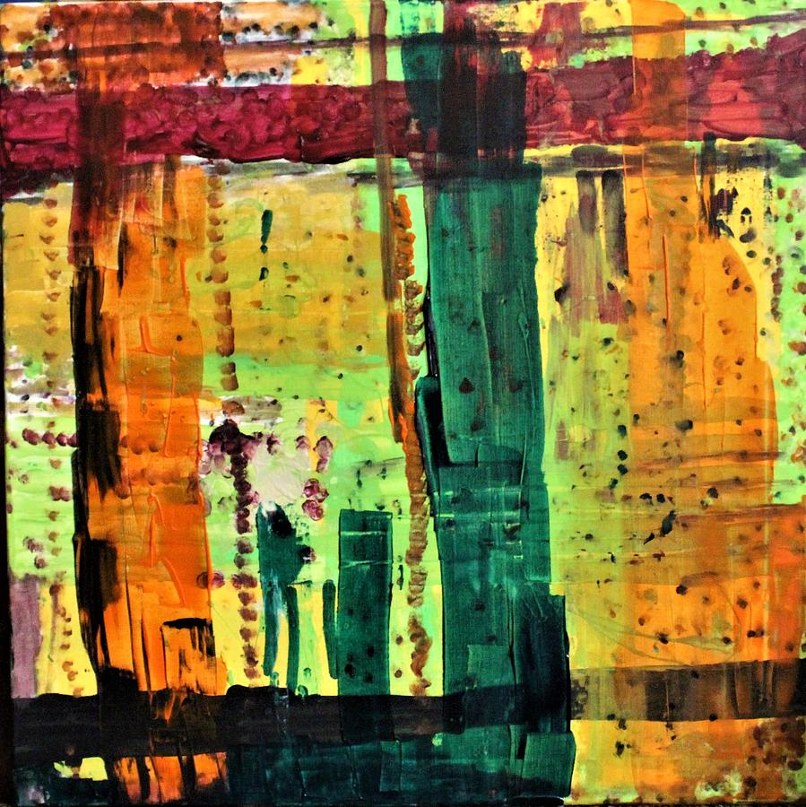 Orange Painting - Step Ladder by Pam Roth OMara