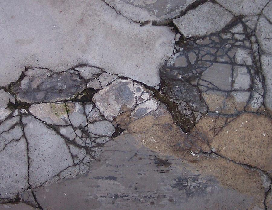 Abstract City Sidewalk Urban Chicago Industrial Photograph - Step On A Crack 2 by Anna Villarreal Garbis