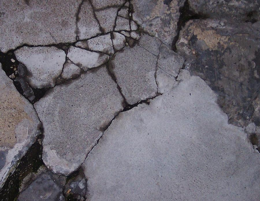 Bstract City Sidewalk Urban Chicago Industrial Photograph - Step On A Crack 3 by Anna Villarreal Garbis