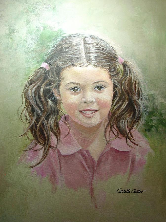 Children Painting - Stephanie by JoAnne Castelli-Castor