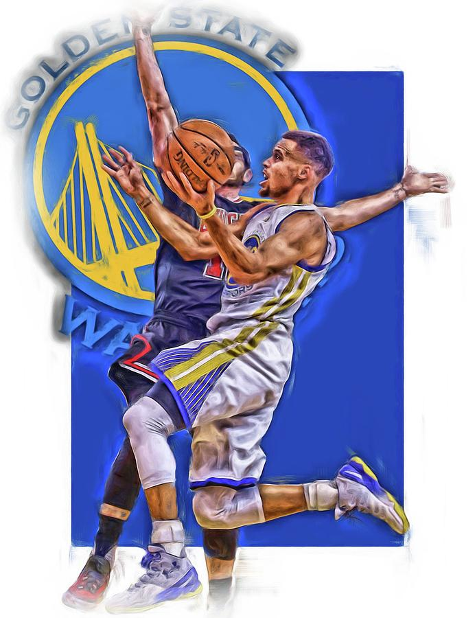 Stephen Curry Mixed Media - Stephen Curry Golden State Warriors Oil Art by Joe Hamilton