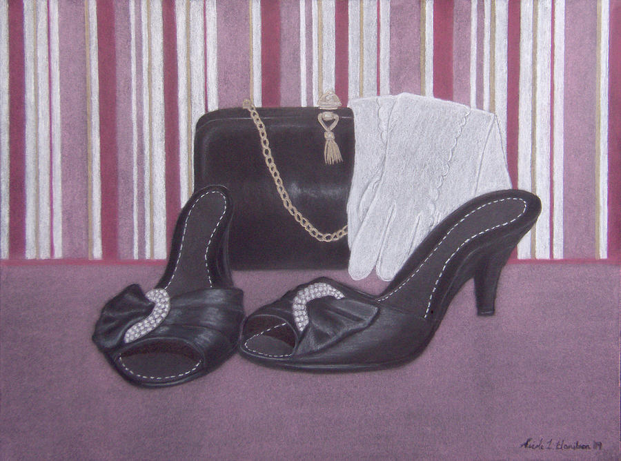 Shoes Drawing - Stepping Out by Nicole I Hamilton