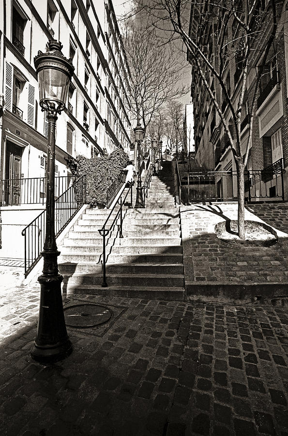Black Photograph - Steps In Montmartre by Gerry Walden