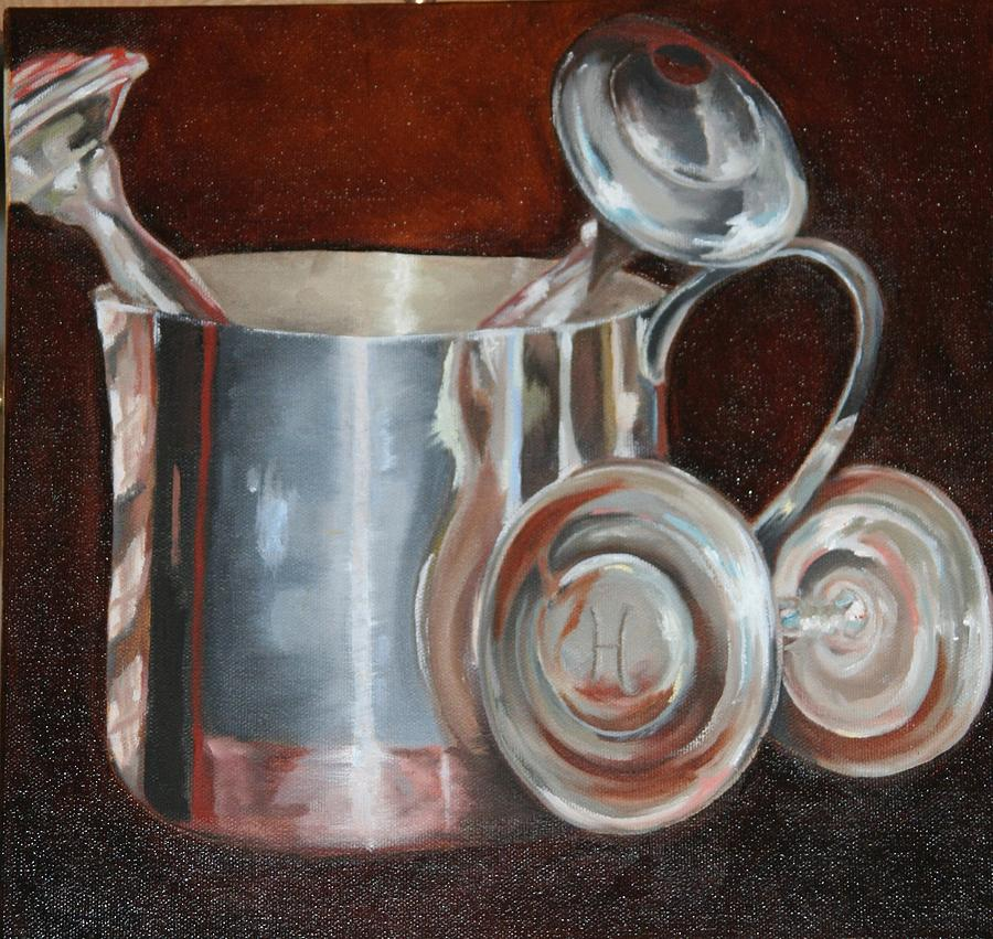 Baby Rattle Painting - Sterling Baby Rattles In A Baby Cuo by Amy Higgins