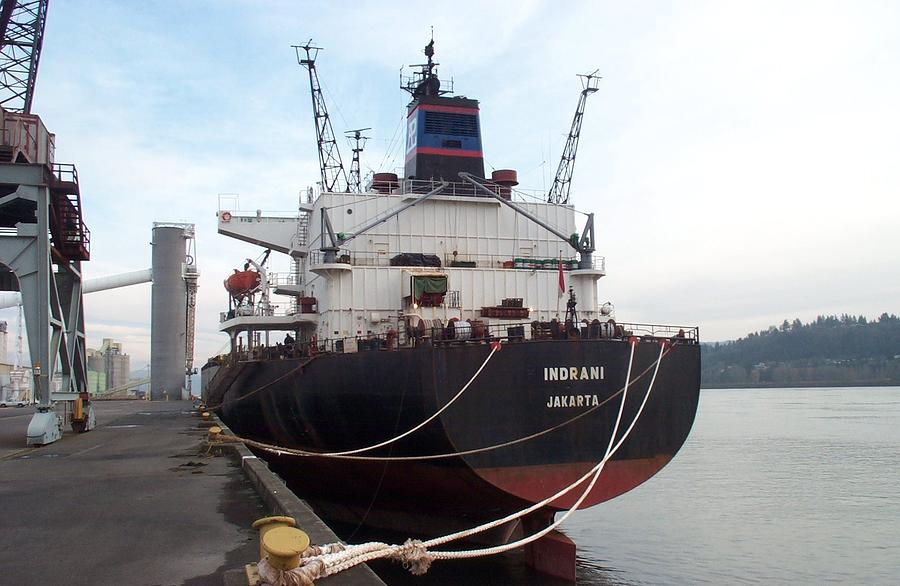 Vessel Photograph - Stern Of The Vessel Indrani At Dock by Alan Espasandin