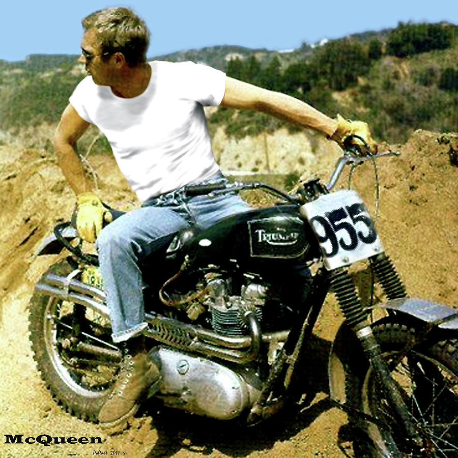 steve mcqueen triumph motorcycle on any sunday mixed. Black Bedroom Furniture Sets. Home Design Ideas