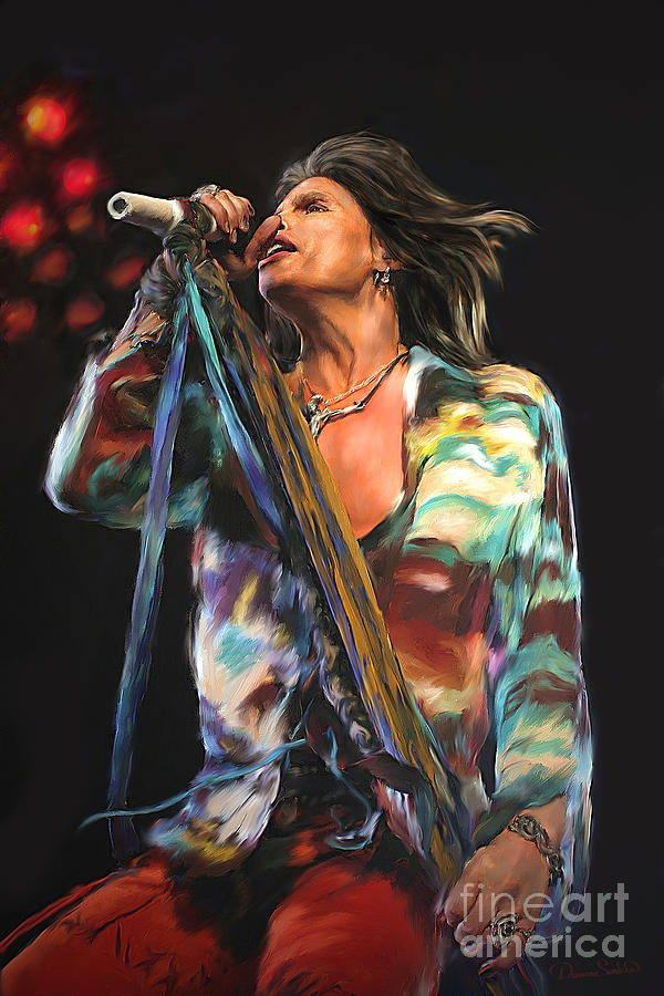 Music Mixed Media - Steven Tyler 01 by Dawn Serkin