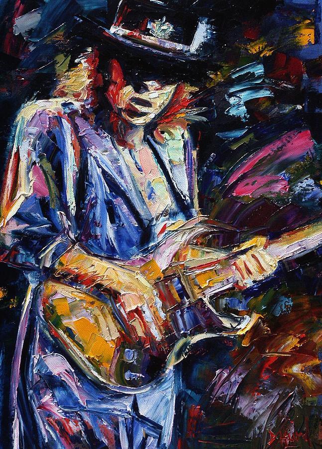 Rock Painting - Stevie Ray Vaughan by Debra Hurd