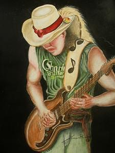 Stevie Ray Vaughan Drawing by Portland Art Creations