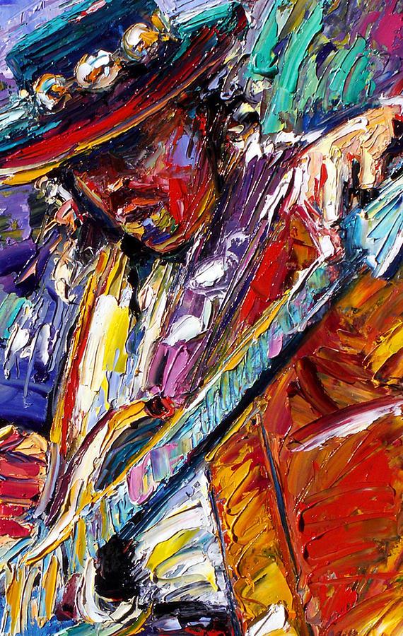 Rock Painting - Stevie Ray Vaughan Number One by Debra Hurd