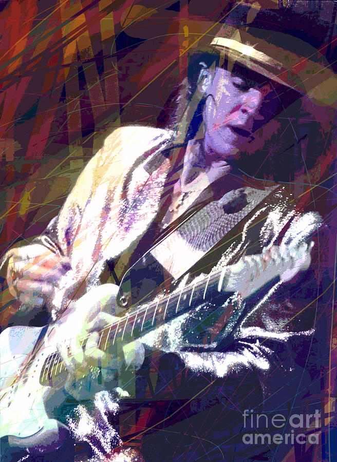 Stevie Ray Vaughan Painting - Stevie Ray Vaughan Texas Blues by David Lloyd Glover