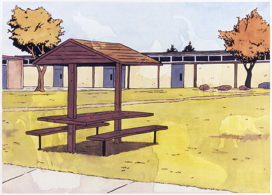 Karl Painting - Sticker Landscape 1 Schoolyard by Karl Frey