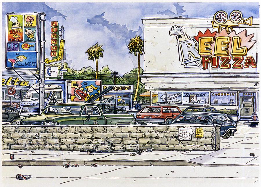 Karl Painting - Sticker Landscape 2 Parking Lot by Karl Frey