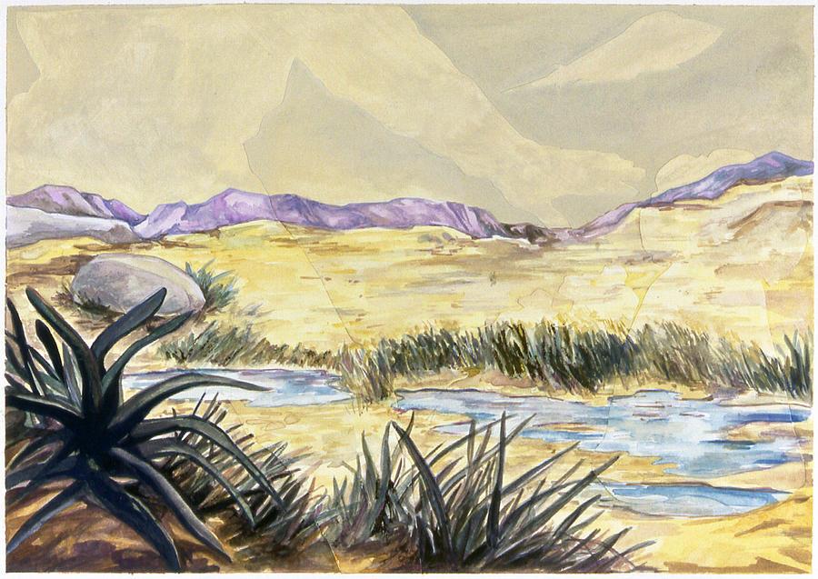 Karl Painting - Sticker Landscape 3 Desert by Karl Frey